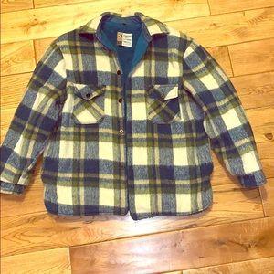 Vintage plaid jacket/ late 1960's lined jacket/ XL